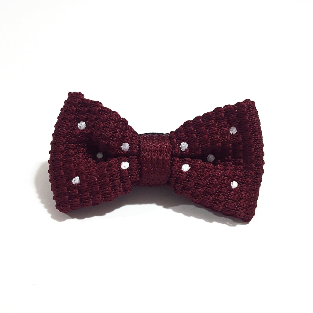 Kids Burgundy & White Polka Knit Bow Tie