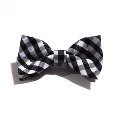 Kids Black & Silver Plaid Bow Tie
