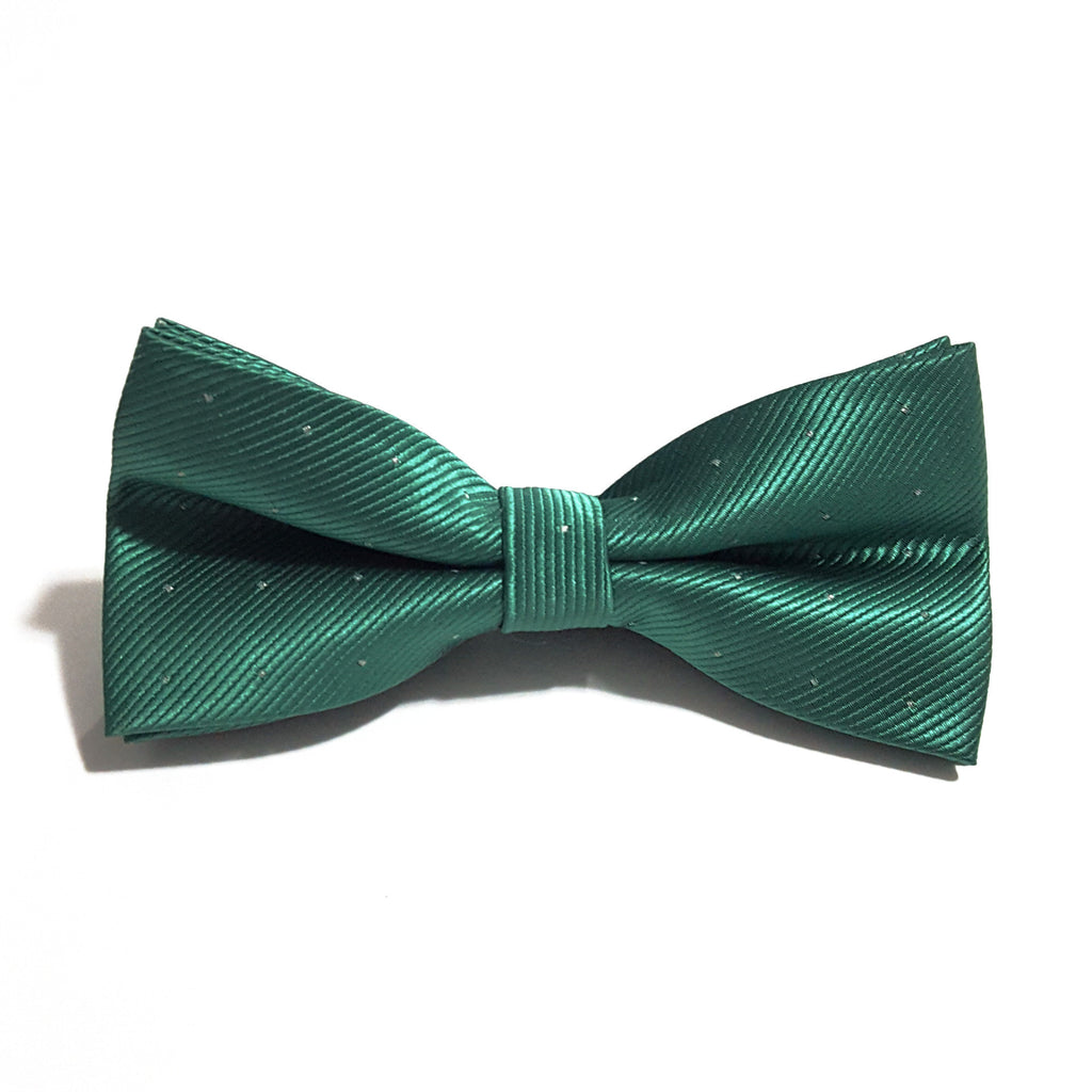 Green & Silver Polka Dot Bow Tie