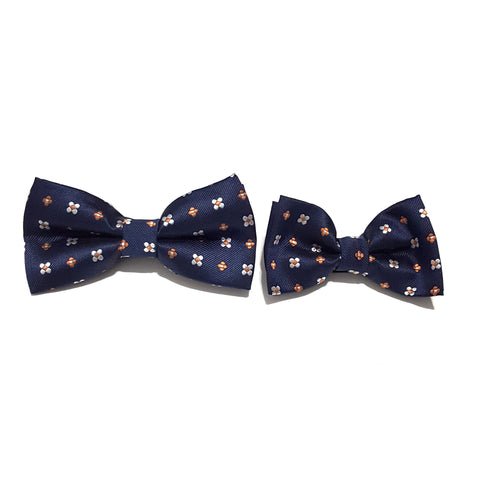 Navy Floral Bow Tie + Kids Bow Tie