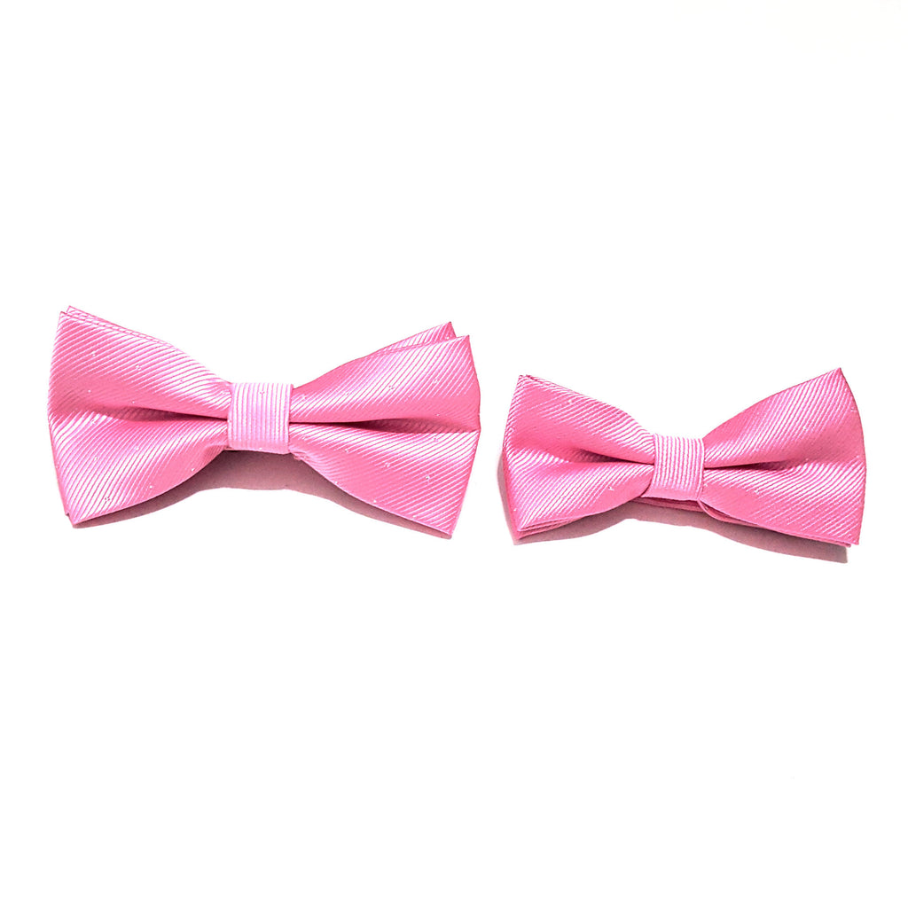 Light Pink & Silver Polka Dot Bow Tie + Kids Bow Tie