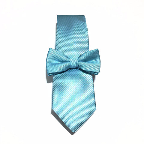 Light Blue Silk Tie + Kids Bow Tie