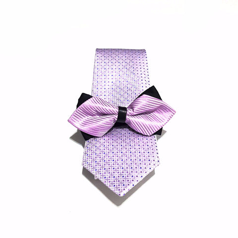 Light Purple Pattern Tie + Kids Bow Tie