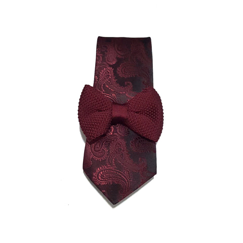 Maroon Paisley Tie + Kids Knit Bow Tie