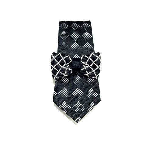 Black Diamond Tie + Kids Knit Bow Tie