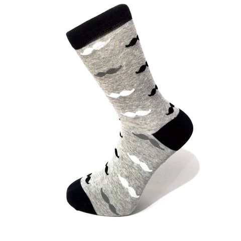Grey & Black Mustache Socks