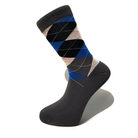 Dark Grey & Blue Pattern Socks