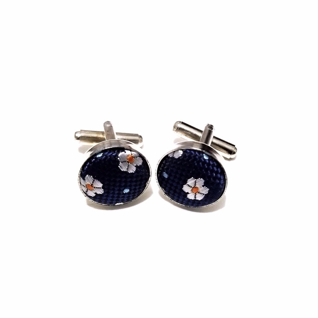 Navy & Orange Floral Cufflinks