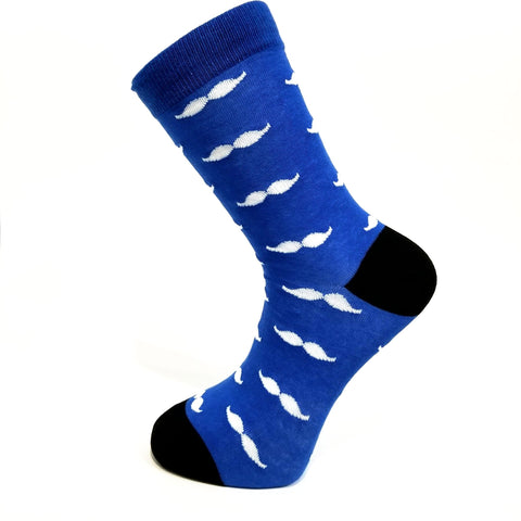 Blue & White Mustache Socks