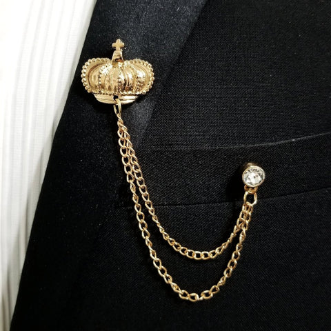 'Crown' Lapel Pin Chain - Gold