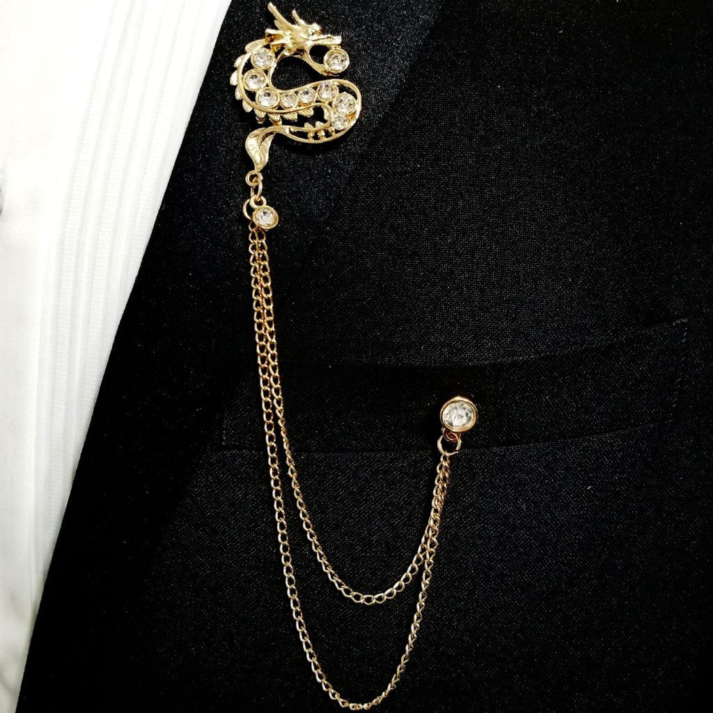 'Dragon' Lapel Pin Chain - Gold