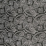 Black & Silver Silk Paisley Pocket Square