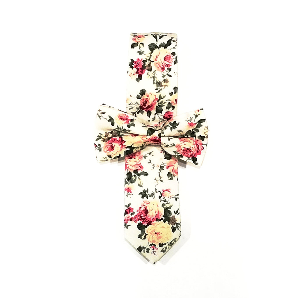 Off-White Floral Tie + Off-White Floral Bow Tie