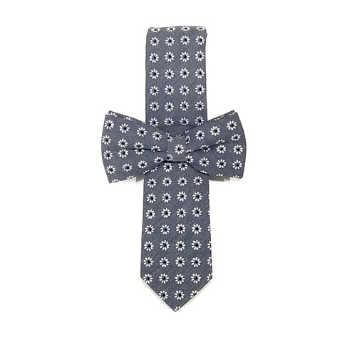 Grey & White Floral Tie + Grey & White Floral Bow Tie
