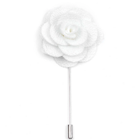 White Small 'Flower' Lapel Pin