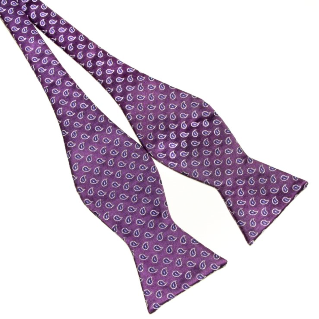 Purple Paisley Self-Tie Bow Tie