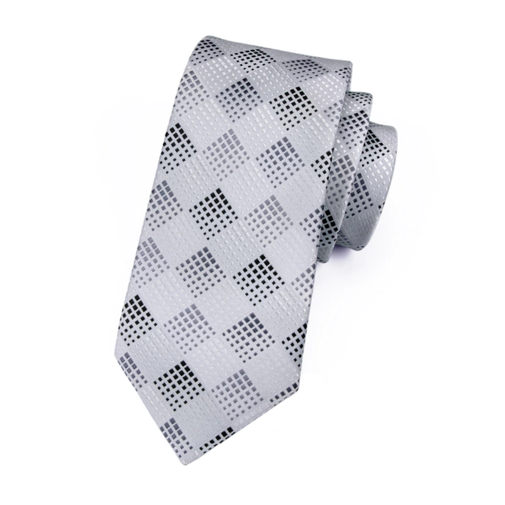 Silver Diamond Silk Tie