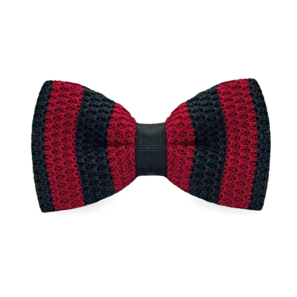 Black &  Red Knit Bow Tie
