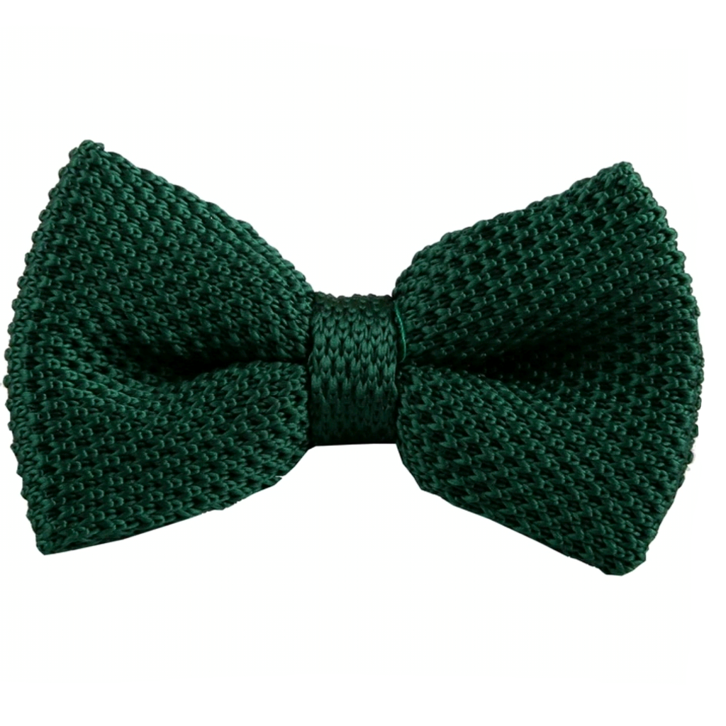 Kids Green Knit Bow Tie