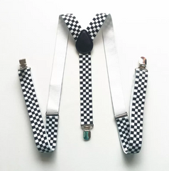 Kids Black & White Pattern Suspenders