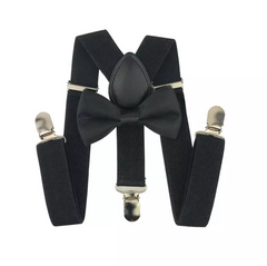 Kids Black Bow Tie & Suspenders