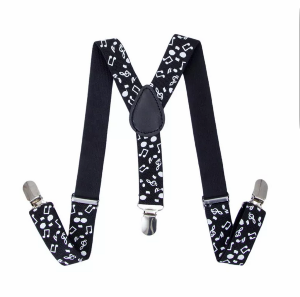 Kids Black & White Musical Pattern Suspenders