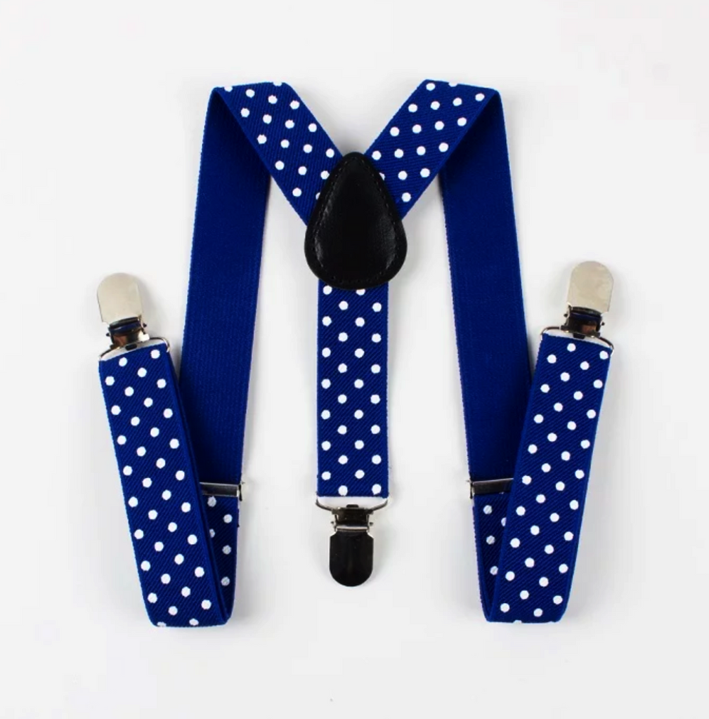 Kids Royal Blue Polka Dot Suspenders