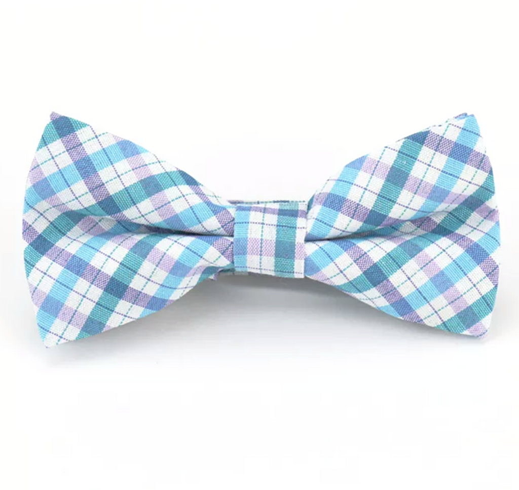 Kids Blue & Purple Plaid Bow Tie