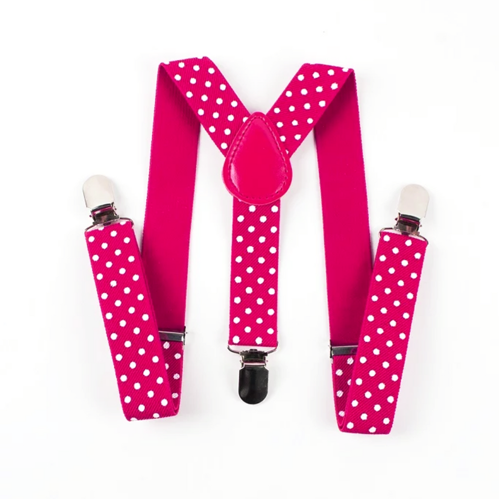Kids Hot Pink Polka Dot Suspenders