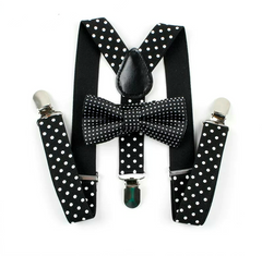 Kids Black Polka Dot Bow Tie & Suspenders