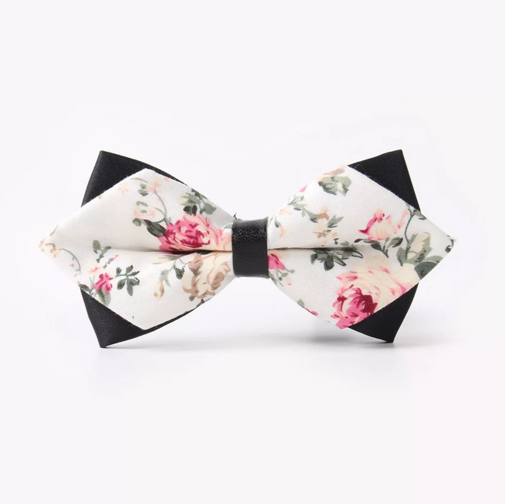 Kids Off White Floral Bow Tie