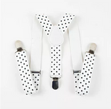 Kids White Polka Dot Suspenders