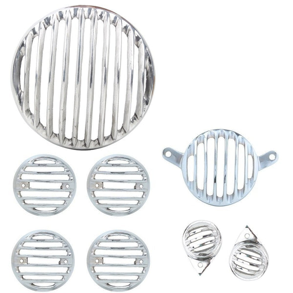 R.J.VON - Grill Combo Head Light,Indicator,Tail, Eyes Silver Set (Pack of 8 Pcs.)