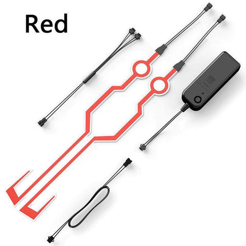 R.J.VON Bike Helmet Light Strip, LED Light Motorcycle Helmet Kit Night Riding Signal Flashing Stripe Bar(Red)