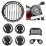R.J.VON - Real Customized Head light Grill Tiger Face Black For - Royal Enfield Bullet Electra Twins Classic Desert Storm Classic 300 ,350, 500,Classic 350/500/Chrome
