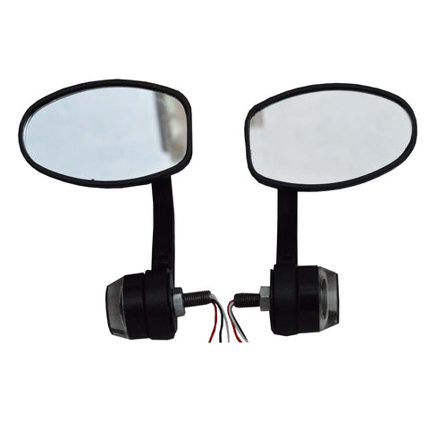 R.J.VON Bike Oval Handlebar Mirror With LED Turn Signal LED Side Indicator Light Dubble Color For - All Bike /Royal Enfield Bullet
