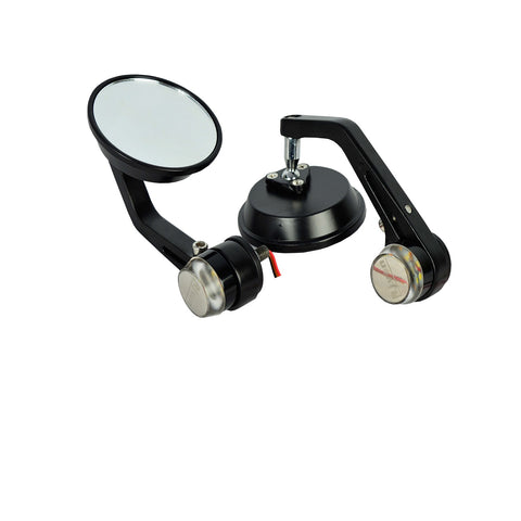 R.J.VON RJEXRETMTS01 Bike Round Handlebar Mirror With LED Turn Signal LED Side Indicator Light  For - All Bike /Royal Enfield Bullet