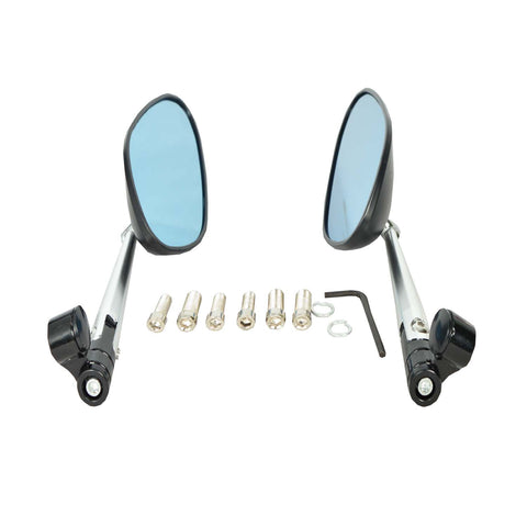 R.J.VON Round Anti Glare CNC Handle bar Oval Mirrors for Motorcycles - Set of 2