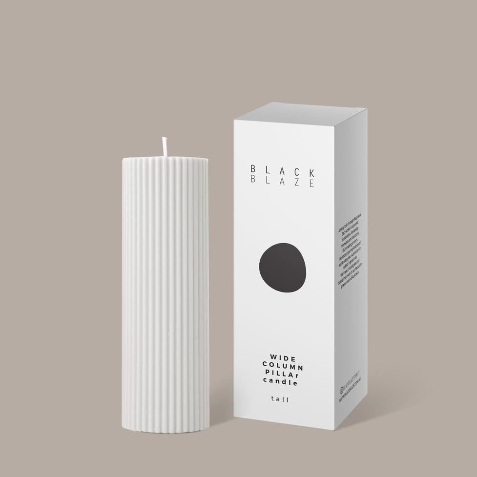 Wide Column Pillar Candle White