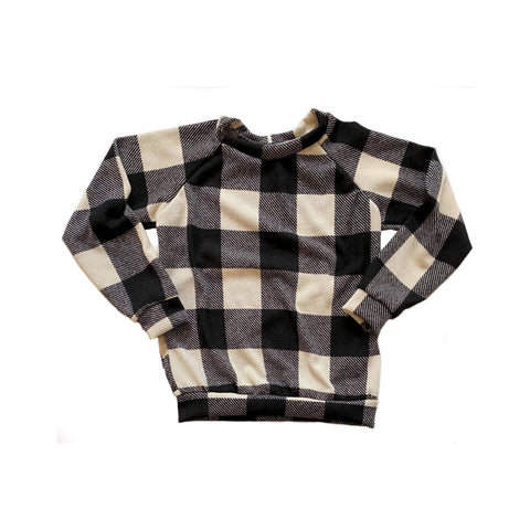 RTS: Black & Off White Plaid Raglan
