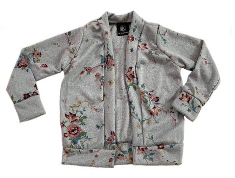 Gray Floral Cardigan OR Raglan