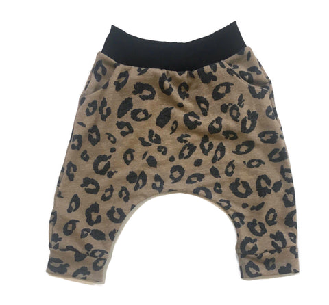 Tan Animal Print Harem Shorts