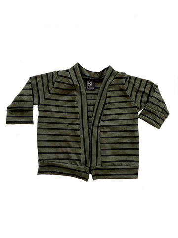 Olive Stripe Cardigan OR Raglan