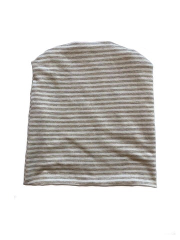 Light Tan & White Stripe Beanie