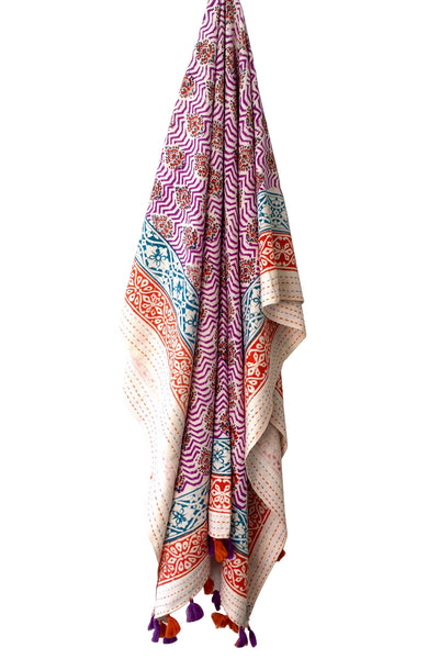 Indian Summer Tassel Throw, block print Beach Throw, block print blanket, tassel blanket, bohemian throw, beach blanket, travel blanket, wanderlust, roundie, summerstyle, tassel