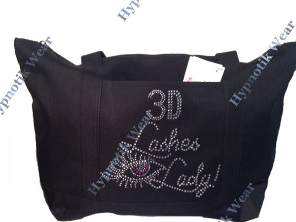 "Rhinestone Sturdy Tote Bag with Zipper & Front Pocket "" 3D Lashes Lady "" Perfect for Make Up"