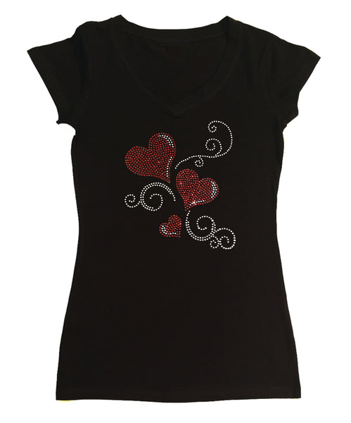 Womens T-shirt with 3 Red Hearts and Swirls in Rhinestones