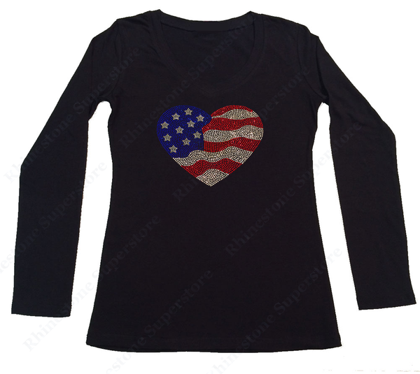 Womens T-shirt with 4th of July American Flag Heart in Rhinestones
