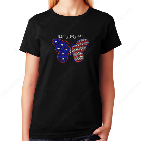 Women's / Unisex T-Shirt with 4th of July Butterfly in Rhinestones
