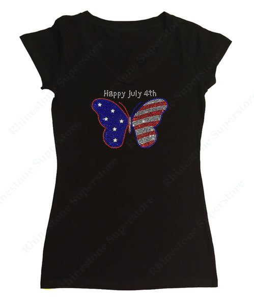 Womens T-shirt with 4th of July Butterfly in Rhinestones